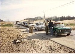 IDF roadblock outside Jabalya, 1988