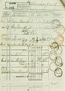 A page with a pre-printed table. It has handwritten entries showing amounts of deposits and withdrawals, and the balance. Each entry has a post office date stamp.
