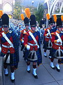The Irish Guard leading the Band of the Fighting Irish to the stadium