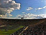 The Band of the Fighting Irish plays inside Notre Dame Stadium
