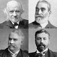 Head and shoulders photos of each of the four men. Black and white. Grove is bald and benign-looking; Burnand fully-thatched and moderately bearded, looking pleased with himself; Carte, serious, dark-haired and neatly bearded; and Gilbert light-coloured hair and moustache looking slightly to right