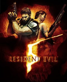 "Main characters Chris Redfield and Sheva Alomar and the text ""Resident Evil 5"" in the foreground with a sketch of the African continent in the background"