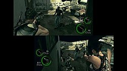 Still from the game with Chris Redfield (back to the player) and Sheva Alomar (facing the player)