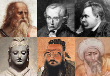 Left to right: Plato, Kant, Nietzsche, Buddha, Confucius, Averroes