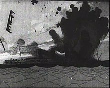A black-and-white drawing of a sinking ship, exploding with thick, black smoke.