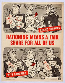A cartoon of two women with the above panel having a woman hoarding and the below panel having the two share resources via rationing