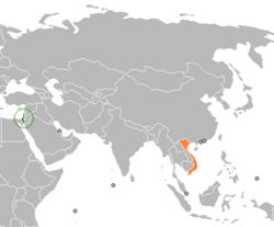 Map indicating locations of Israel and Vietnam