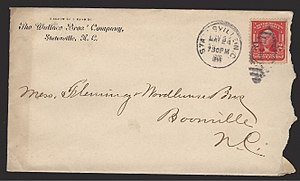 Front of an envelope mailed in the U.S. in 1906, with a postage stamp and address