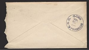 Back of the above envelope, showing an additional receiving office postmark